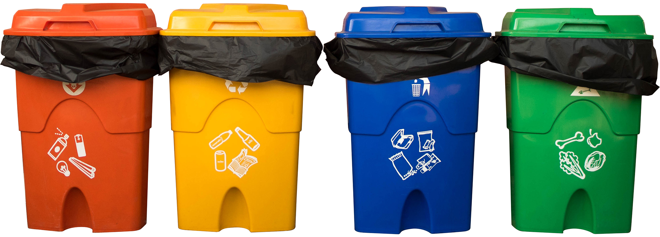 Three colorful recycle bins isolated on white background with the clipping path. Selection path.